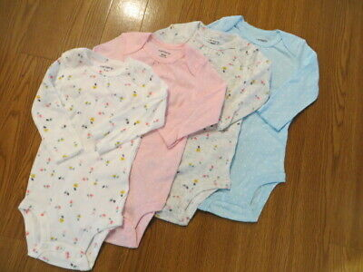 Carters Infant Girls/'`4-Pack Long-Sleeve Bodysuits Pointelle Hearts NWT