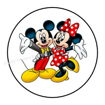 "48 Mickey Minnie Mouse Envelope Seals Labels Stickers 1.2"" Round"
