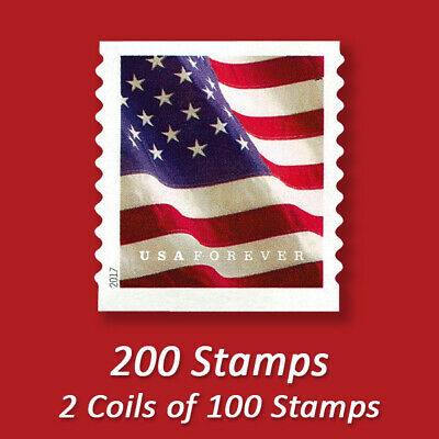 200 USPS FOREVER STAMPS, 2 Coils of 2017 First Class Mail Postage!