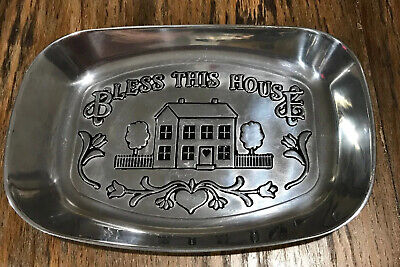 Wilton Armetale Silver Bread Serving Tray with Bless This House