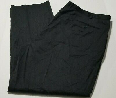 Men's Stafford Executive Big & Tall Suit Separated Flat Front Black Stripe Pants