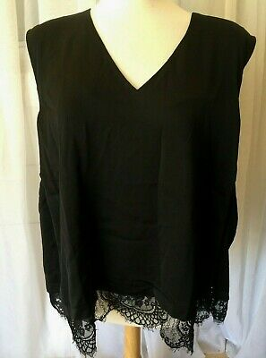 The Limited Collection BLACK  Lace Hem Sleeveless Top Women's 3X NWT