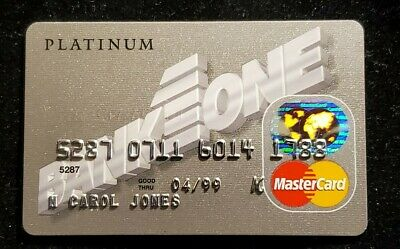 Bank One Business Card Platinum MasterCard exp 1999♡free shipping♡cc1082♡