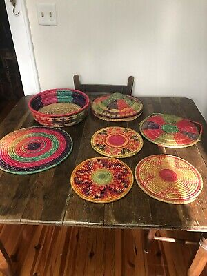 Vintage Lot of 5 Native African Hand woven coil Decorative Trays, 1 Basket & Lid