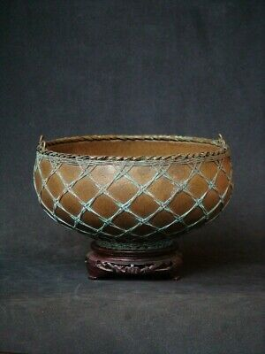 Antique Japanese Awaji Pottery Bowl with Woven Silver Basket Overlay