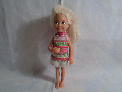 Mattel Barbie Sister Chelsea Blonde Hair Doll Pink / white / Green Outfit