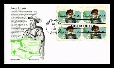 Dr Jim Stamps Us Ponce De Leon Aristocrat First Day Cover Block