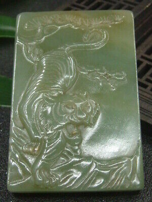 Chinese Antique Celadon Nephrite Hetian-OLD-Jade Tiger Statue/Pendant