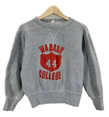 Vintage 60's Wabash College Heather Gray Single V Champion Sweatshirt Sz Small