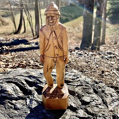 Vintage Artist Beauregard Folk Art Wood Wooden Carved Man Hiker Unique Statue