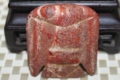 Chinese jade red mountain culture turquoise carved amulet