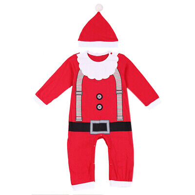 Baby Christmas Clothes Outfits Boy Girl Kids Romper Hat Cap Set Gift Red 80 F2H2