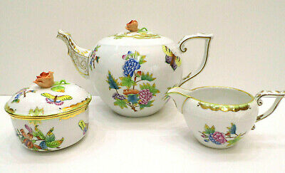 Herend Queen Victoria Xlarge Teapot,Sugarbowl And Creamer,3Pieces,Mint Condition