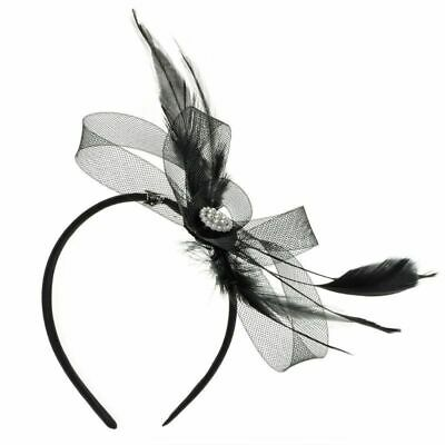 Women Ladies Feather Diamond Headband Hair Clip Wedding Bridal Band Ball Party