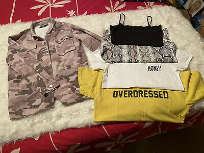 Size 6 & 6-8 Ladies Clothes-Camouflage Jacket&Tops Boohoo,Pretty Little Thing