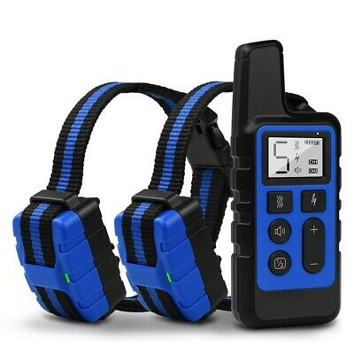 800m Electric Dog Shock E Collar Waterproof Rechargeable Pet Training for 2 Dogs