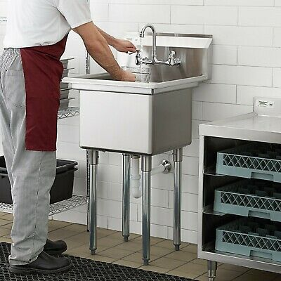 """24"""" WITH FAUCET 18"""" x 18"""" x 12"""" Bowl Stainless Steel Commercial Utility Sink NSF"""