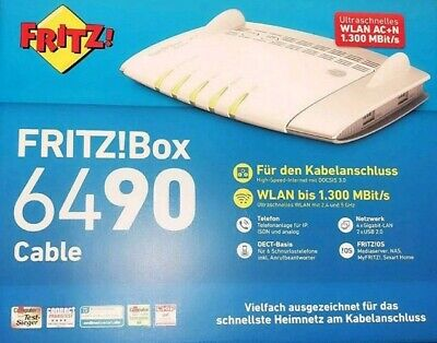 AVM FRITZ!Box 6490 Cable in weiss/silber, ohne Branding, kein UnityMedia! OVP
