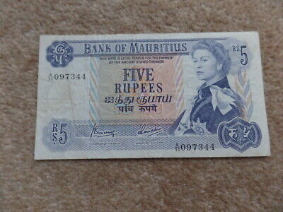 Collection Queen Elizabeth II  Mauritius 5 Rupees Banknote 1967, Very Good Gift!