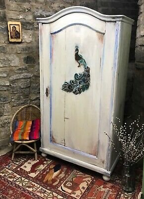 Vintage Painted Pine Armoire/ Wardrobe With Inlaid Peacock Design