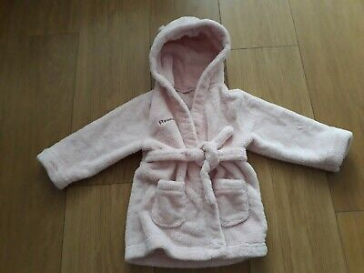 Girls Fluffy Pink Hooded With Ears Dressing Gown - Aged 12-24 Months