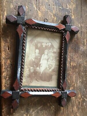 Arts and Crafts Picture Frame With Family Portrait Oak