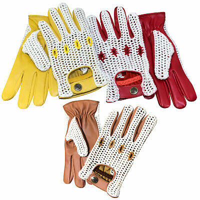 Classic English Vintage Leather Driving Fashion Gloves Crochet String Back 505