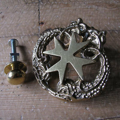 Brass Maltese Cross with Fish / Dolphins Door Knocker