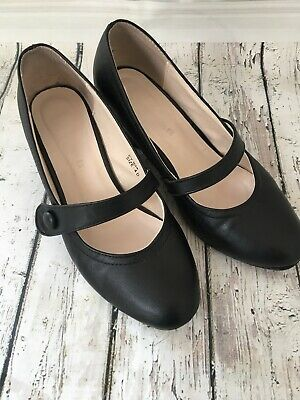 Next Heavenly Soles Black Leather Mary Jane Comfort Shoes Size 4