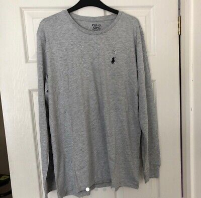 Men's Ralph Lauren Long Sleeve Crew Neck Cotton T-shirt Grey Size L