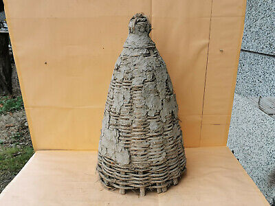 Old Antique Primitive Hand Made Basket Skep For Bee Swarm Hive Beeskep Beehive