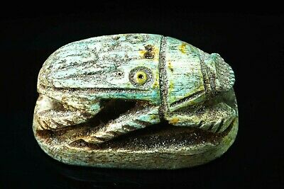 Ancient Faience Scarab Amulet Bead Egypt Ra Eye hieroglyphic  Tomb Pendant