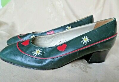 Pretty vintage leather dirndl trachten Aiustrian Bavarian style shoes 5.5 EU 38.