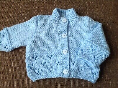 Hand Knitted Baby Cardigan (Pale Blue)