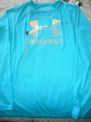 UNDER ARMOUR NWT Girl YLG LS turquoise pullover top shiny logo across front