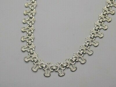 "Vintage/Antique English Sterling Silver Elegant Necklace. Art Deco??. 18"". (Ncb)"