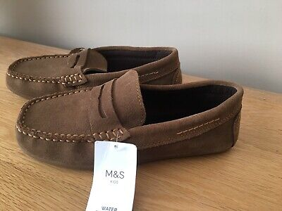 MARKS & SPENCER BOYS TAN SUEDE LEATHER MOCCASIN SHOES, Size 1, Bnwt