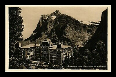 Dr Jim Stamps Grindelwald Grand Hotel Switzerland Cupped Real Photo Postcard