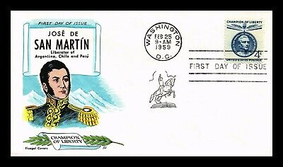 Dr Jim Stamps Us Scott 1125 4C Champion Of Liberty San Martin Fdc Cover Fluegel