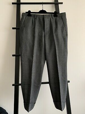 AMI Alexandre Mattiussi Pleated Carrot Fit Trousers Anthracite Grey Size 44