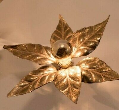 1 of 5 Massive Brass Flower Wall Lights, Willy Daro Style Floral Florentiner
