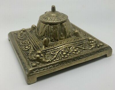Heavy Antique Brass Inkwell, Square Base, Unmarked.