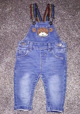 Next Baby Boys 3 - 6 Months Dungarees Denim Rainbow Pride Blue Monkey Outfit