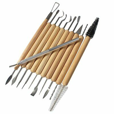 New 11pc Set Stainless Steel Pottery Carvers Sculpture Tools w/ Wooden Handles