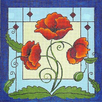 POPPIES 13 MESH Hand-painted Needlepoint Canvas