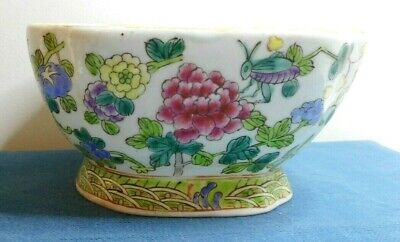 Old Chinese Handpainted With Flowers & Insects Pottery Porcelain Bowl