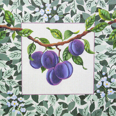 PURPLE PLUMS Handpainted Needlepoint Canvas