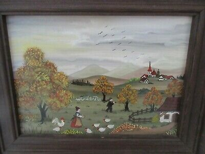 Vintage 1970 Hand Painted FOLK ART Painting Small German Countryside Church
