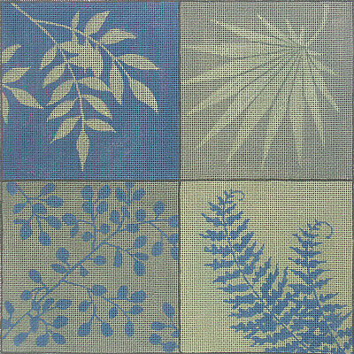 LEAF SILHOUETTES Handpainted Needlepoint Canvas