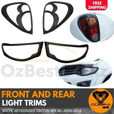 Black Front head tail light Trim Cover suits Mitsubishi Triton MN ML 2006-2014